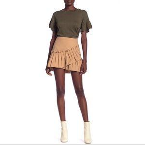 NEW English Factory Khaki Pleated Hem Mini Skirt